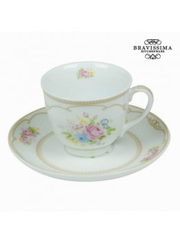 Tasse avec soucoupe bouquet blanc - Collection Kitchen's Deco by Bravissima Kitchen
