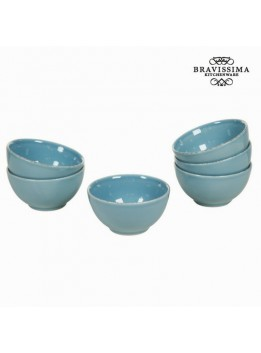 Lot de 6 ramequins en faience bleu - Collection Kitchens Deco by Bravissima Kitchen