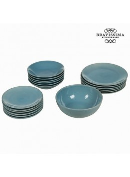 Service vaisselle de 19 pieces en faience bleu - Collection Kitchens Deco by Bravissima Kitchen
