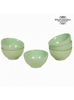 Lot de 6 ramequins en faience vert - Collection Kitchens Deco by Bravissima Kitchen