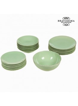 Service vaisselle de 19 pieces en faience vert - Collection Kitchens Deco by Bravissima Kitchen
