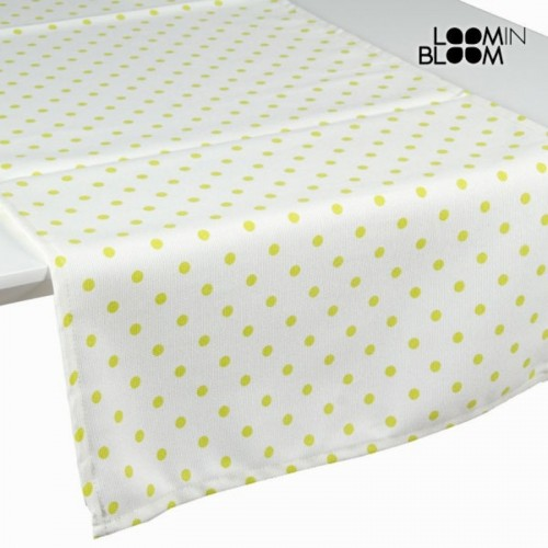 Chemin de table vert à pois naturel - Collection Little Gala by Loomin Bloom