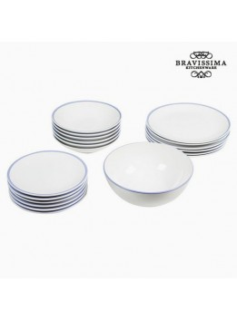 Assietes (19 pcs) Vaisselle Blanc Bleu clair - Collection Kitchen's Deco by Bravissima Kitchen