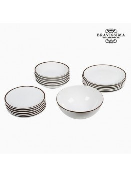 Assietes (19 pcs) Vaisselle Blanc Marron - Collection Kitchen's Deco by Bravissima Kitchen