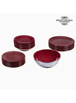 Assietes (19 pcs) Vaisselle Bordeaux - Collection Kitchen's Deco by Bravissima Kitchen