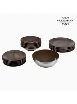 Assietes (19 pcs) Vaisselle Marron - Collection Kitchen's Deco by Bravissima Kitchen